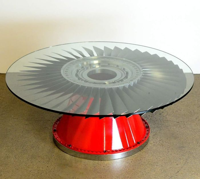 Table Made From Airplane Parts