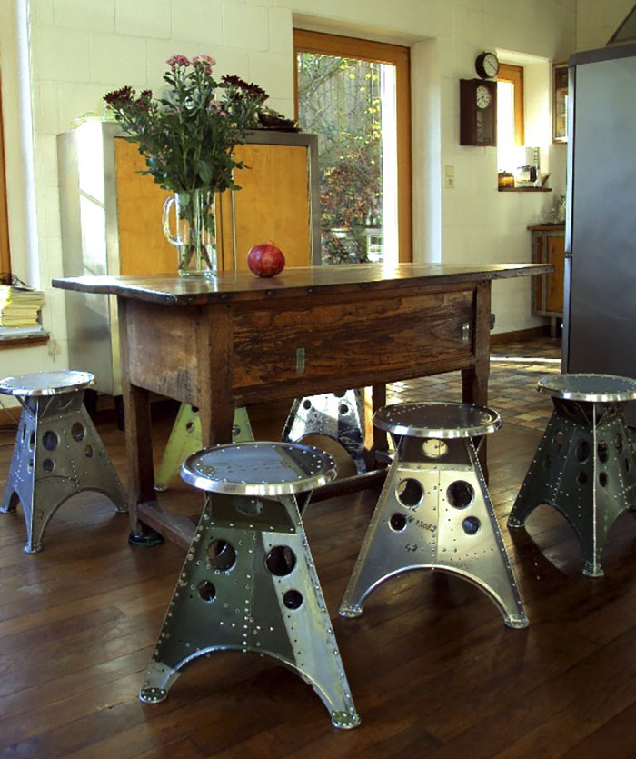 Stools From Recycled Aircraft Scrap