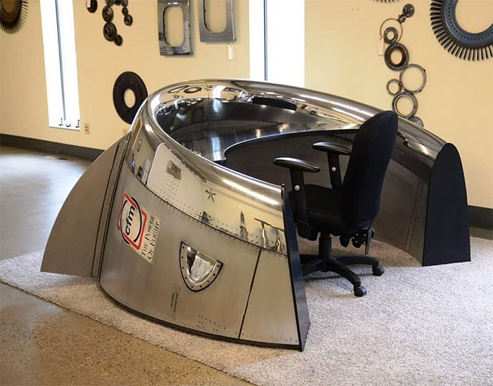 Custom Desk Made From A Cfm56 Cowling From A Dc8