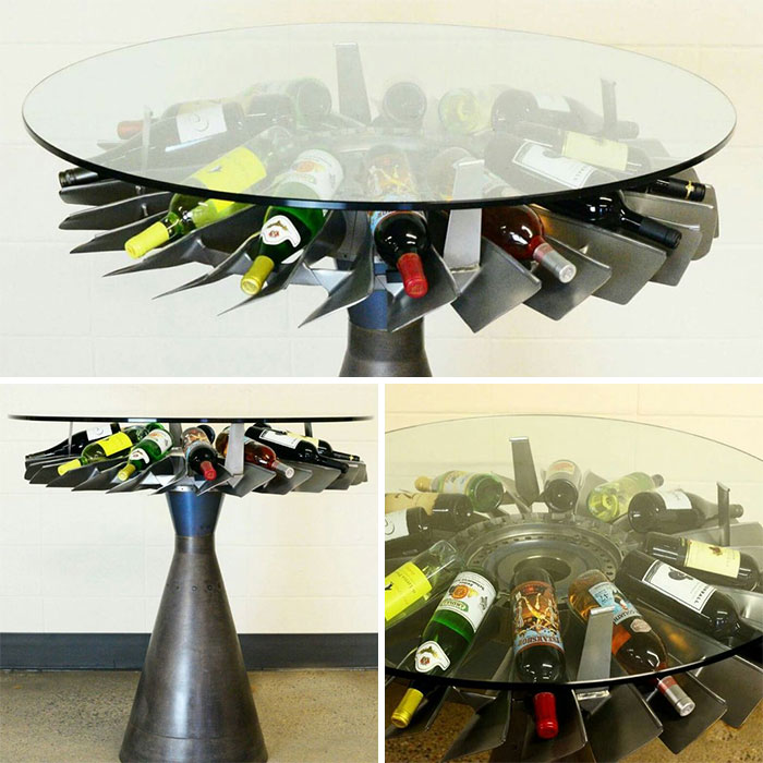 Wine Table Made From Jet Engines