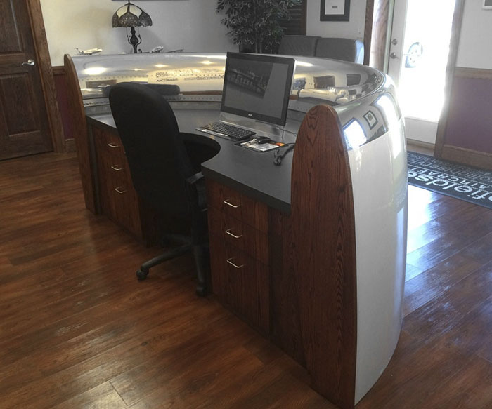 Desk Made From Engine Cowl Of A 747