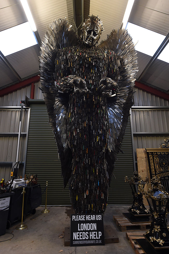 Sculptor Spends 2 Years To Build Knife Angel Out Of 100,000 Weapons, However Government Rejects It