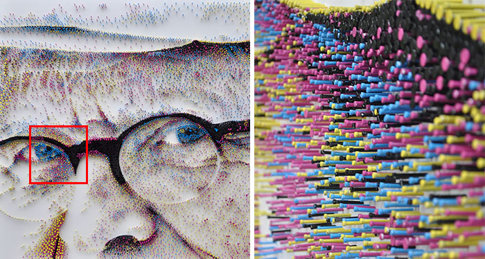 I've Spent Over 1 Year Hammering 1000s Of Nails Into A Giant Portrait Of David Hockney