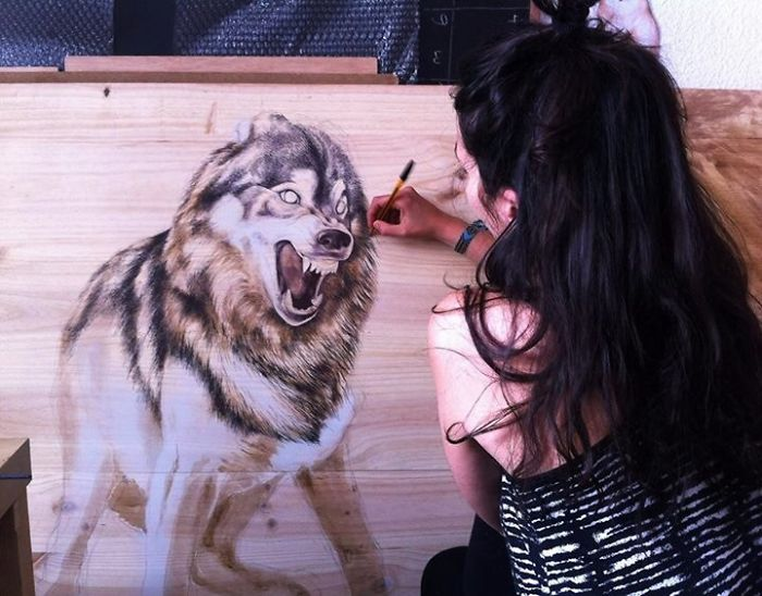 My Animal Sanctuary: Pen On Recycled Wood By Martina Billi