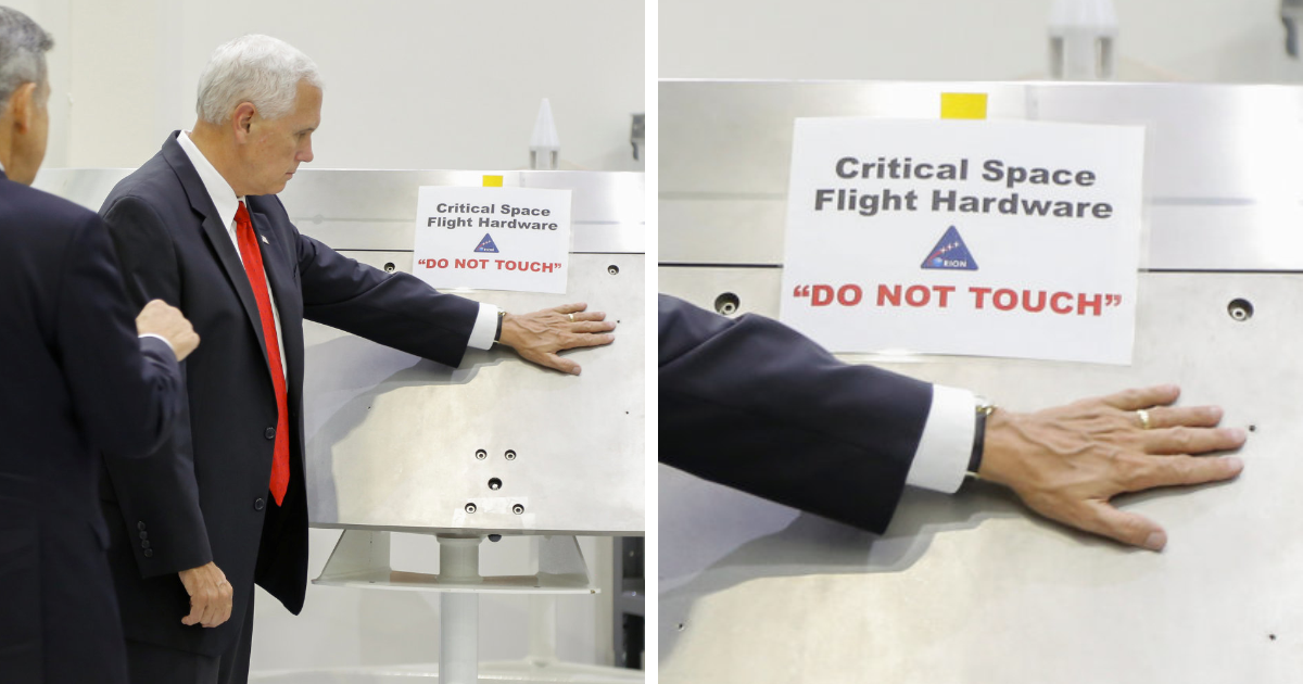 Mike Pence Ignores NASA's 'Do Not Touch' Sign, And The Internet's Response Is Merciless