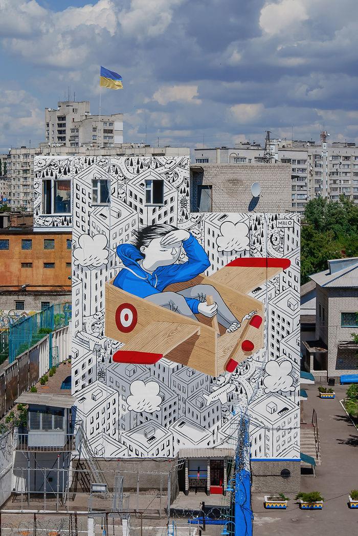 Street Art In A Juvinile Prison By Millo