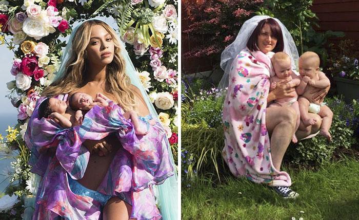 Estos padres recrean de forma divertida las fotos virales de maternidad de Beyoncé para mostrar como es realmente