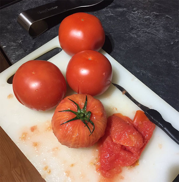 Ever Seen A Peeled Tomato? Pull The Insides Out When You Cut It And They Begin To Look Like Ears