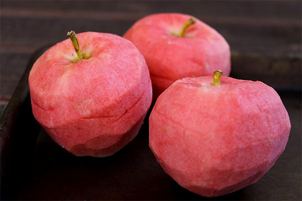 Peeled Pink Pearl Apples