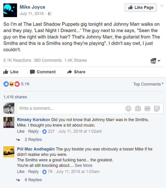 The Drummer Of The Smiths Is Told A Fact