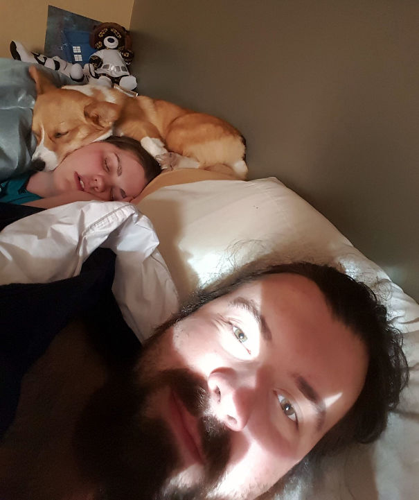 I Love Saturdays Because I Get To Wake Up Next To My Girls (Dog And Wife) And Don't Have To Leave For Work