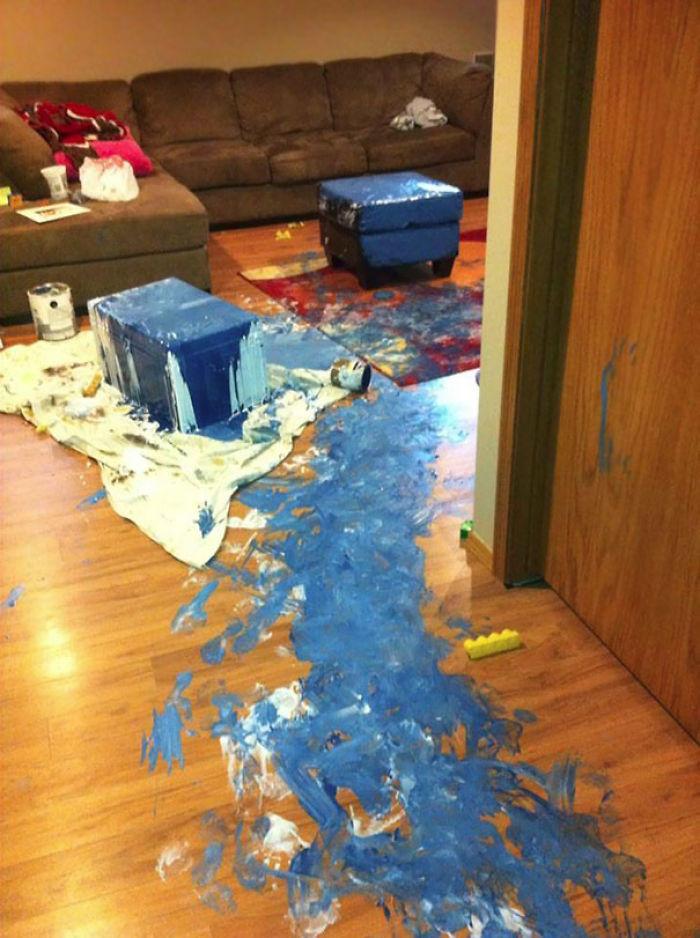 The Kids Woke Up Early To Help Paint The Basement