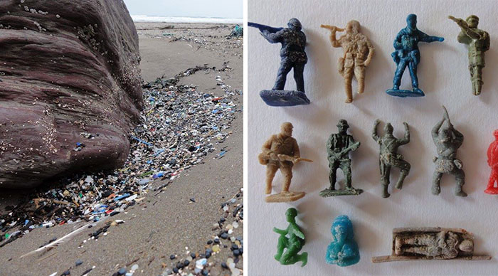 Guy Collects 35 Bags Of Microplastics On The Beach In Just One Day, Turns It Into Art
