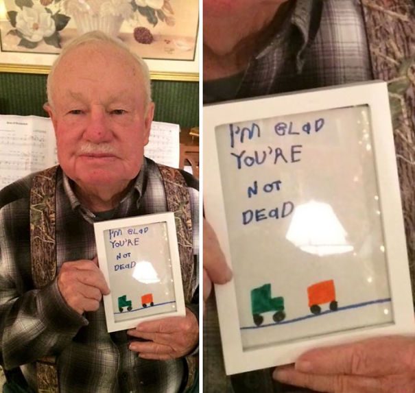 "Kid's ""Glad You're Not Dead"" Gift To Grandpa"