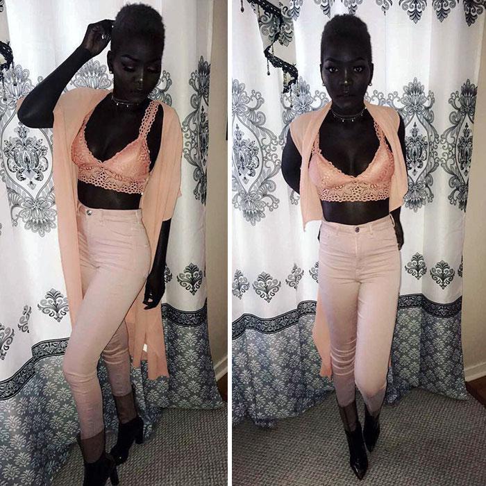 «Խավարի տիրուհին». 24-ամյա սուդանցի մոդելը զարմացնում է իր արտասովոր սև մաշկով (լուսանկարներ)
