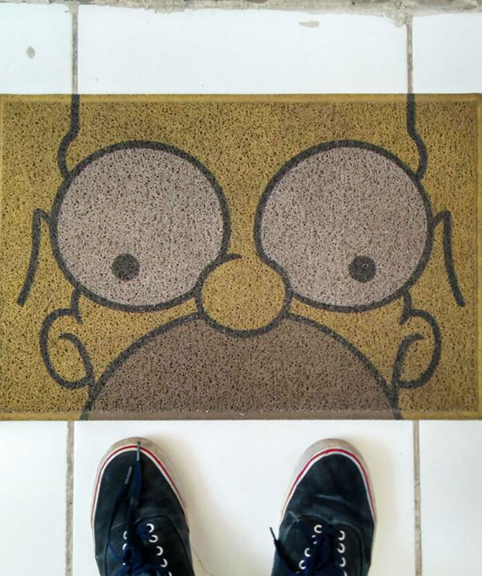 The Homer Simpson In My Welcome Mat Fits The Floor Tile Perfectly
