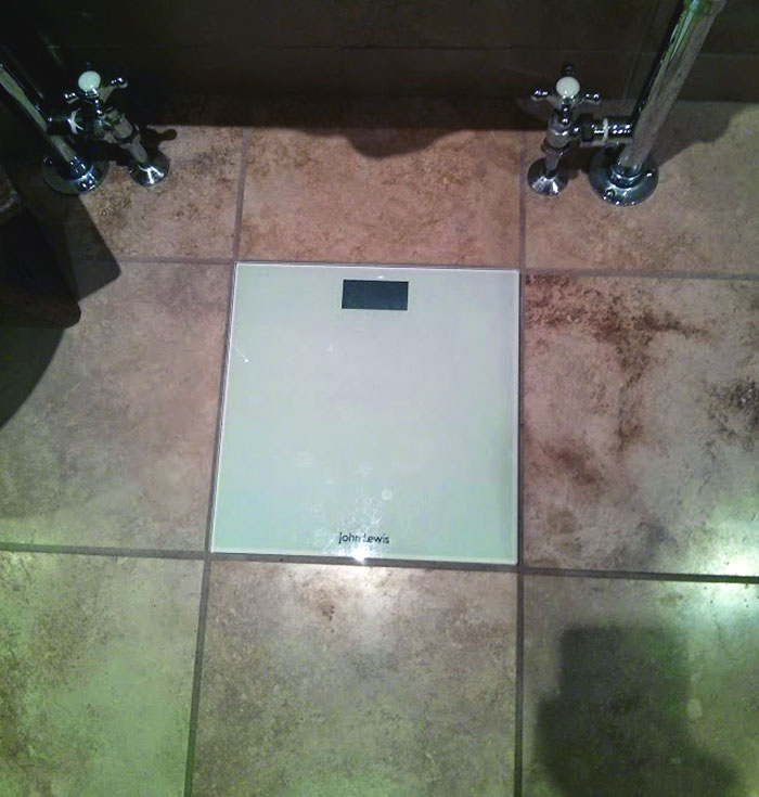 Our Bathroom Scales Line Up Perfectly With Floors Tiles