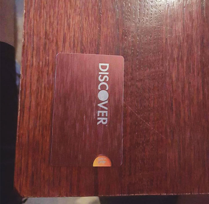 My Discover Card Slightly Camouflages With This Table