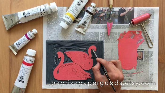 Flamingo Carving & Printing By Printmaker Dogacan Onaran
