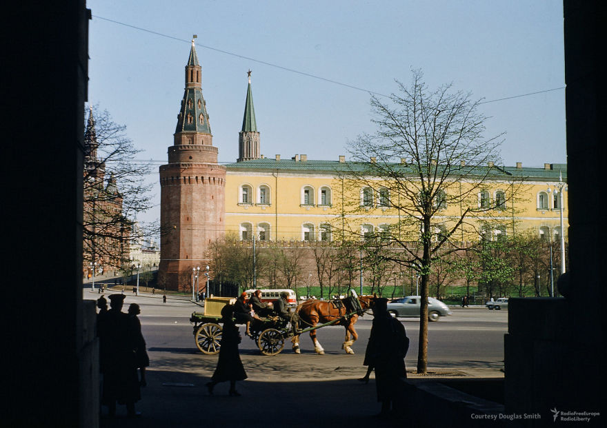 A Horse Clops Past The Kremlin, As Seen From The Entrance To The Old US Embassy