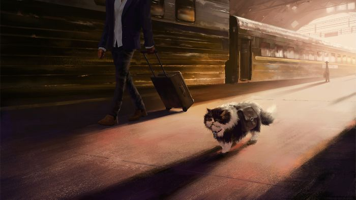 Artist Shows In Illustrations The Adventures Of A Journey Of A Kitten