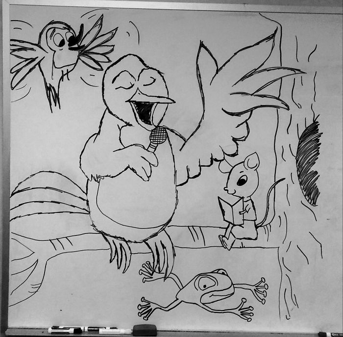 …i Think My Co-worker Got Bored – Found This On The White Board.