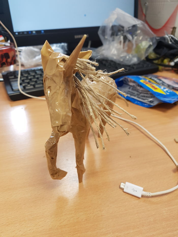 I Was Extremly Bored At Work, So I Made A Scotch Tape Unicorn