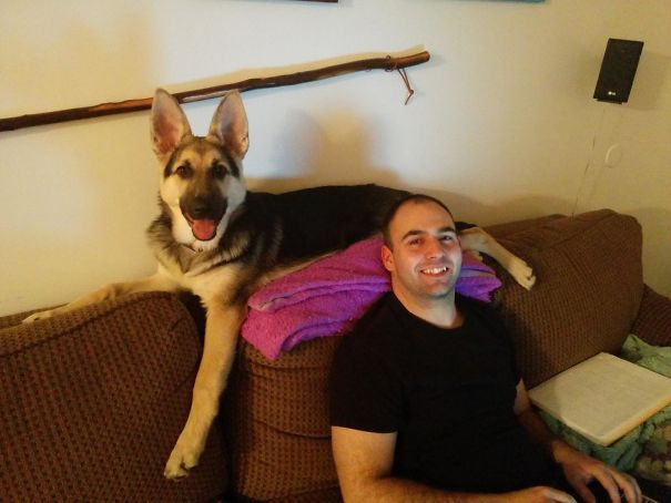 Bf With Our Dog Who Thinks She's A Cat