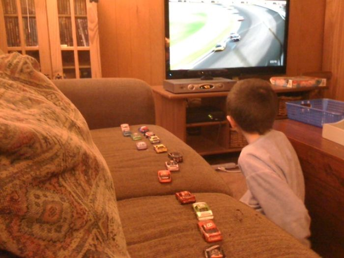 This Is How My Son Tracks Positions During Nascar