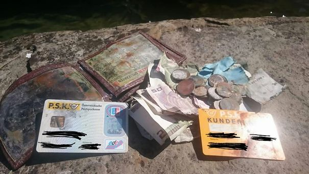 "So My Dad, A Fisherman At Lake ""Attersee"", Austria, Just Fished Up His Old, Lost Wallet In One Of His Fishnets, After He Had Dropped It Into The Lake 20 Years Ago"
