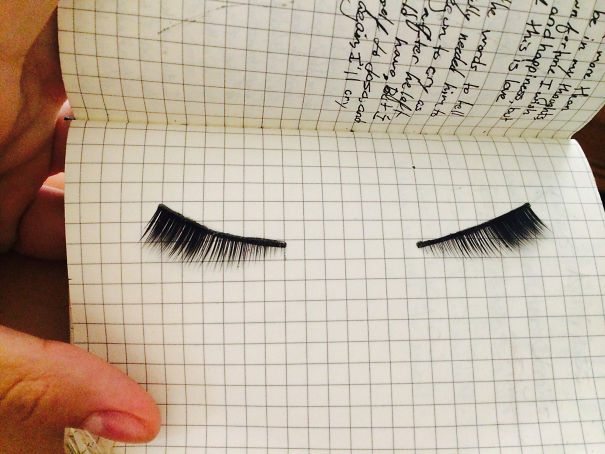 A Few Months Ago, I Lost My Favourite False Lashes While Exceptionally Drunk At A Party. Today I Found Them Pressed Between The Pages Of A Notebook I Keep In My Purse. Blackout Drunk Me Is Such A Sweetie