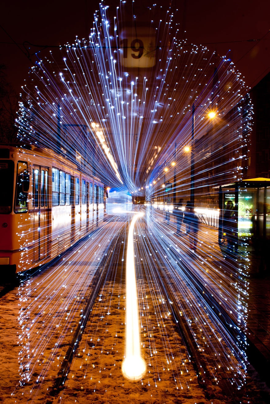 Long Exposure Of A Departing Tram In Budapest Covered With 30,000 Leds