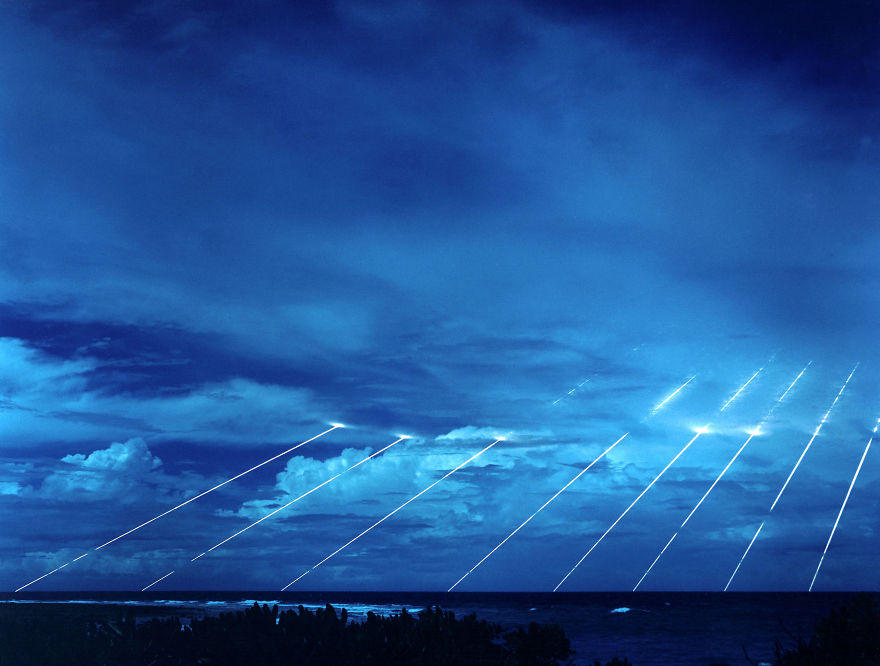 Long Exposure Of A Peacekeeper Missile Testing