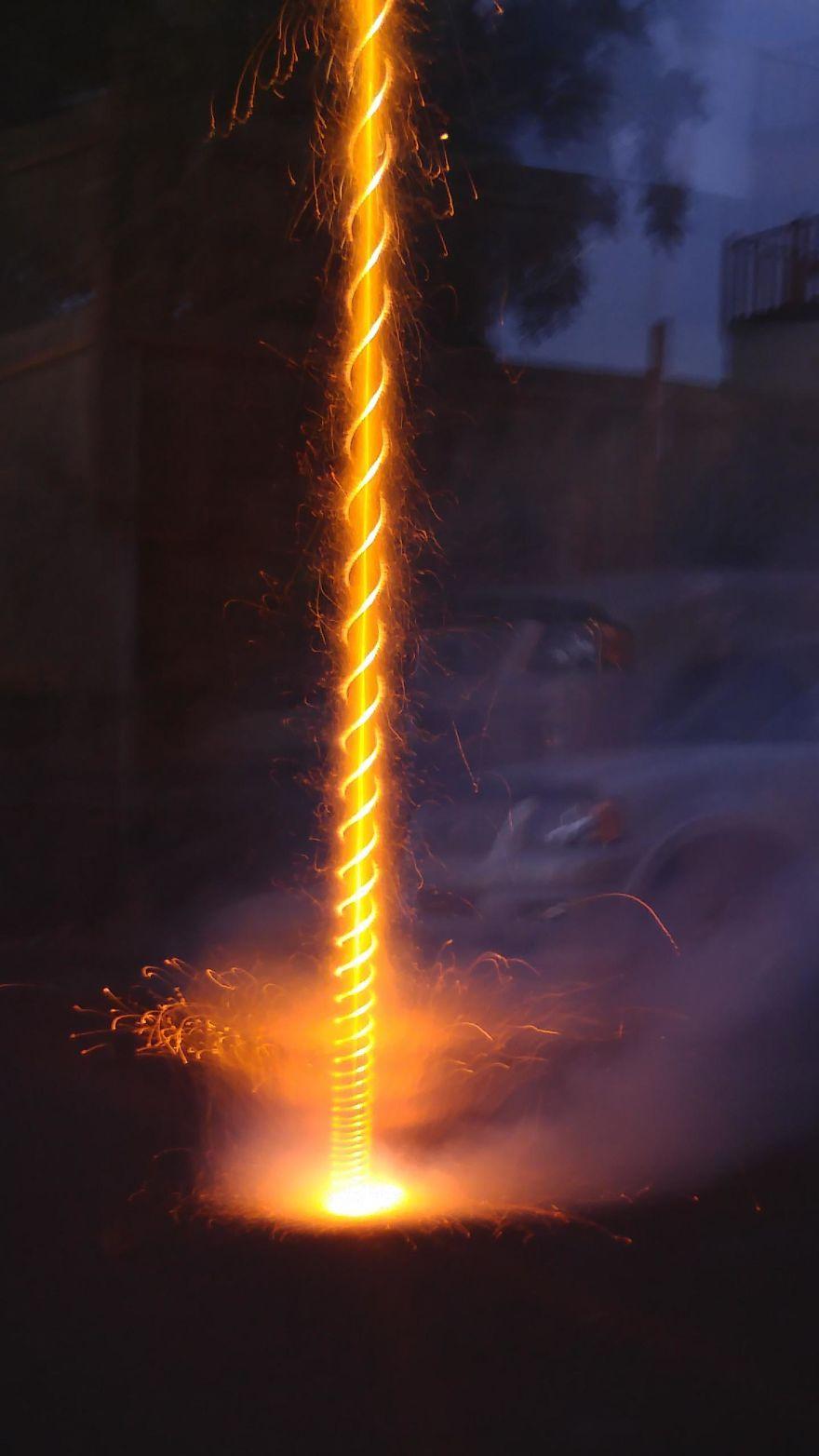 Long Exposure Photograph Of A Firework