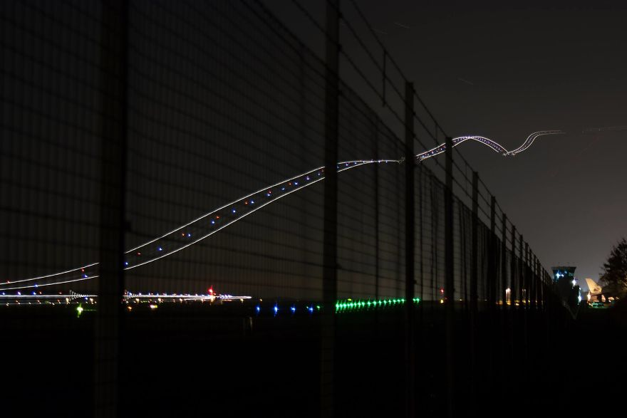 Long Exposure Of A Plane Taking Off