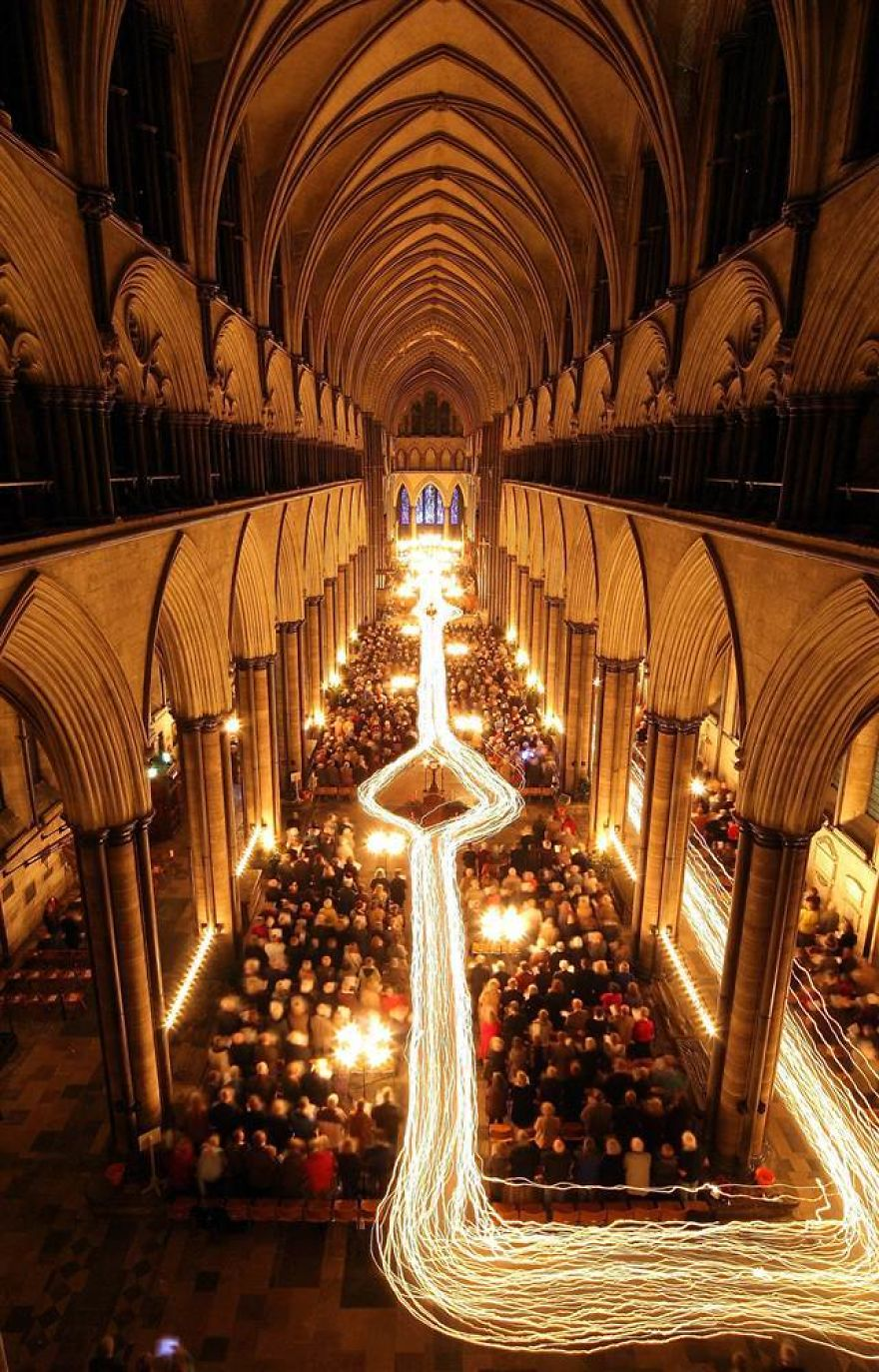 Long Exposure Photo Of Candle Procession At Salisbury Cathedral