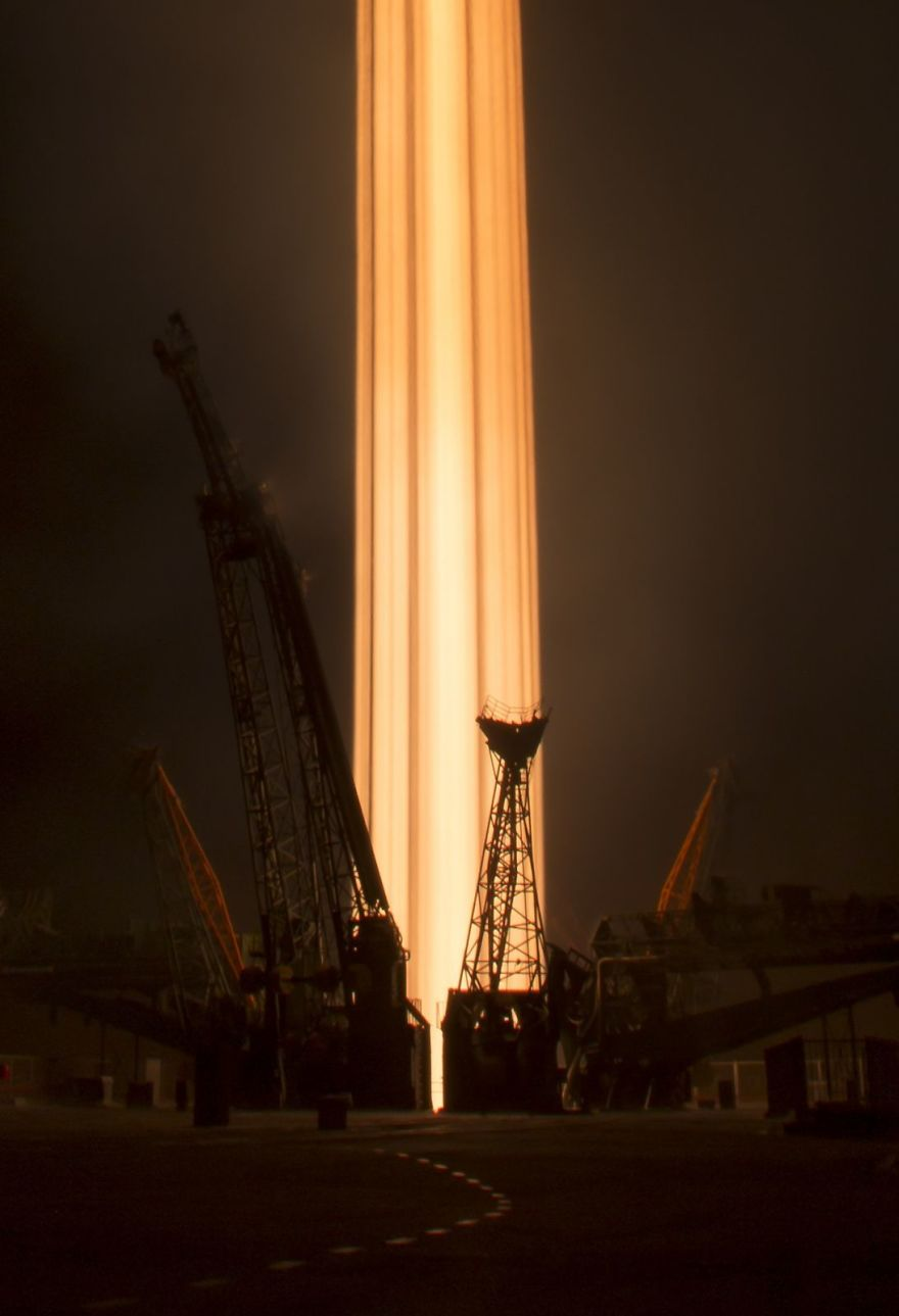 Long Exposure Of Soyuz Launch To The Iss