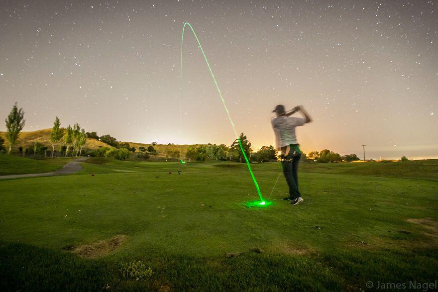 Long Exposure Of An Illuminated Golf Ball Shot