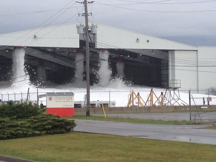 Ever Wondered What Happens If There Is A Fire In An Airplane Hangar? Suppression System Activated In Yyz North End