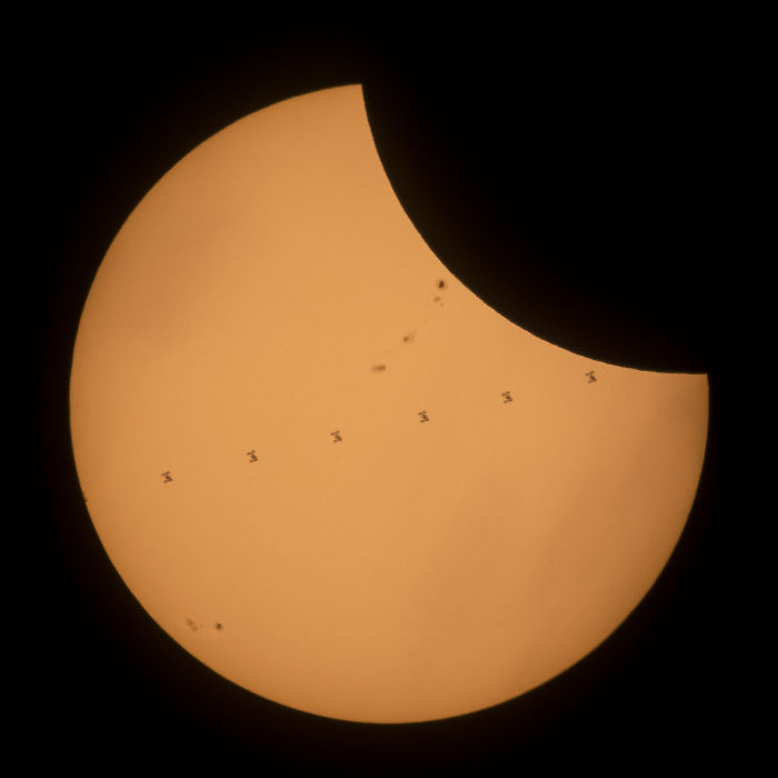 International Space Station passing in front of the Sun © NASA Goddard Space Flight Center