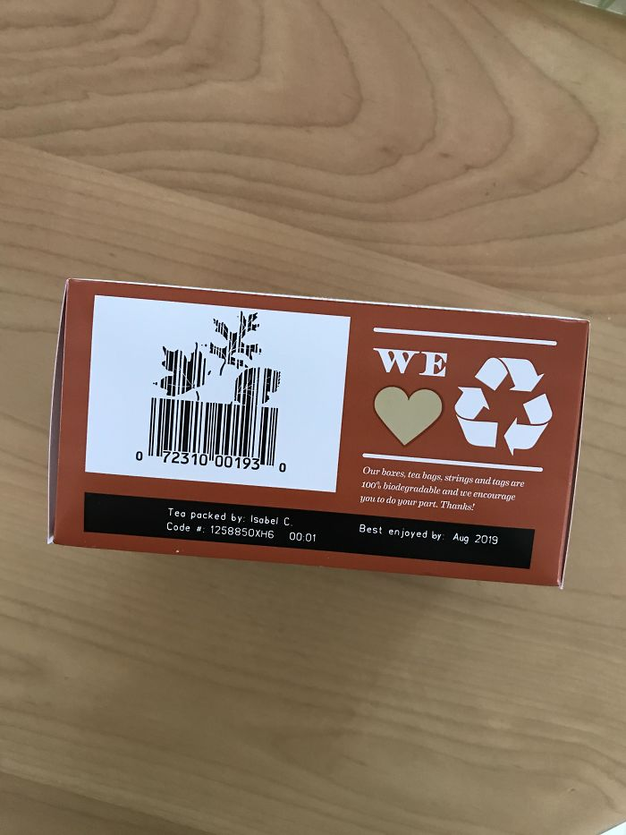 The Barcode On The Back Of This Maple Tea Bag Box