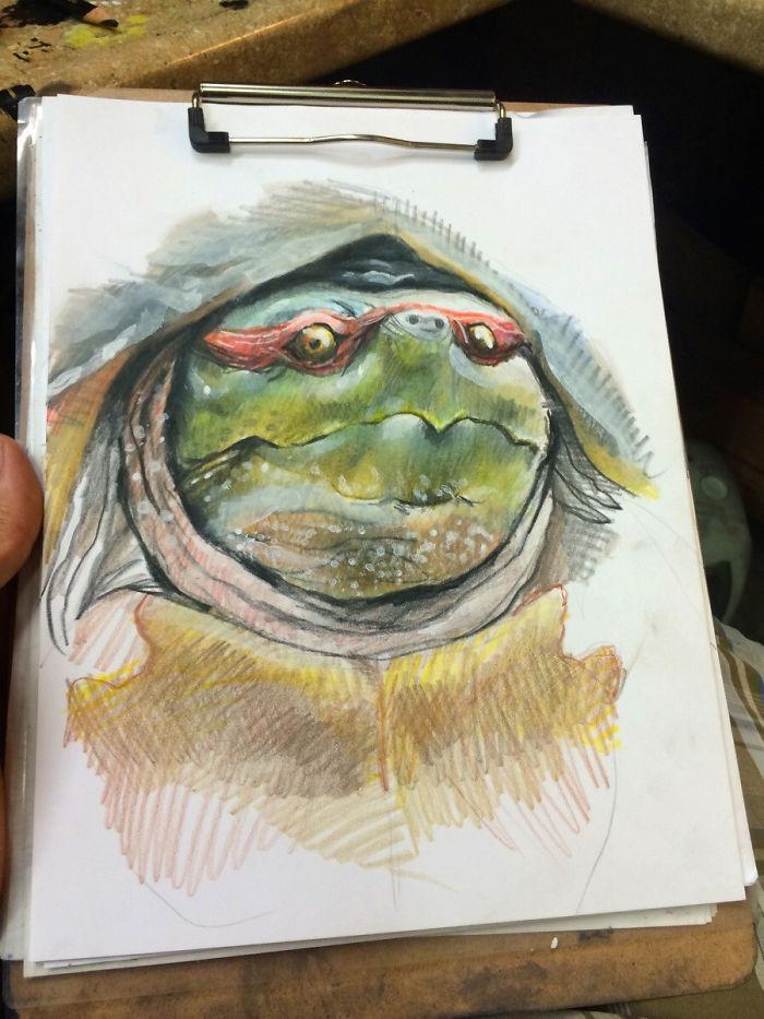 Me aburría e intenté dibujar una tortuga ninja más natural