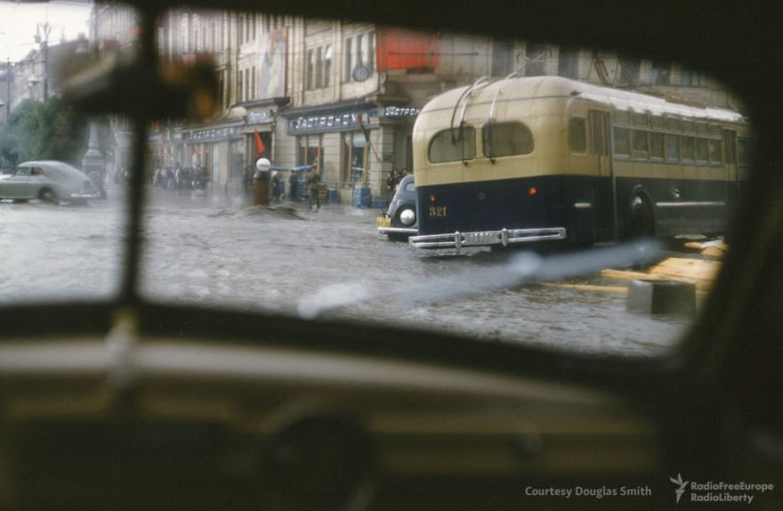 A Public Bus And Several Cars Trapped In A Flood Caused By Summer Rains In Kiev, Ukraine