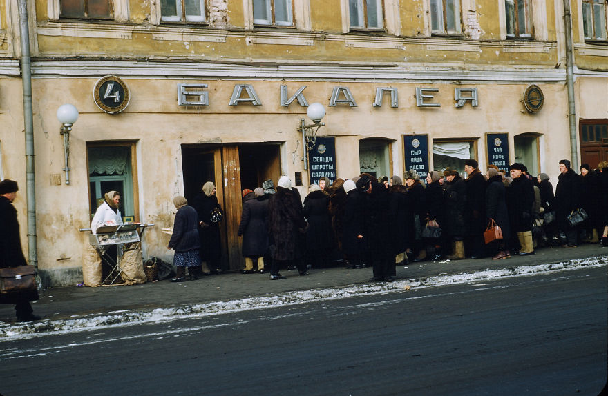 A Queue Outside A Food Store In Moscow