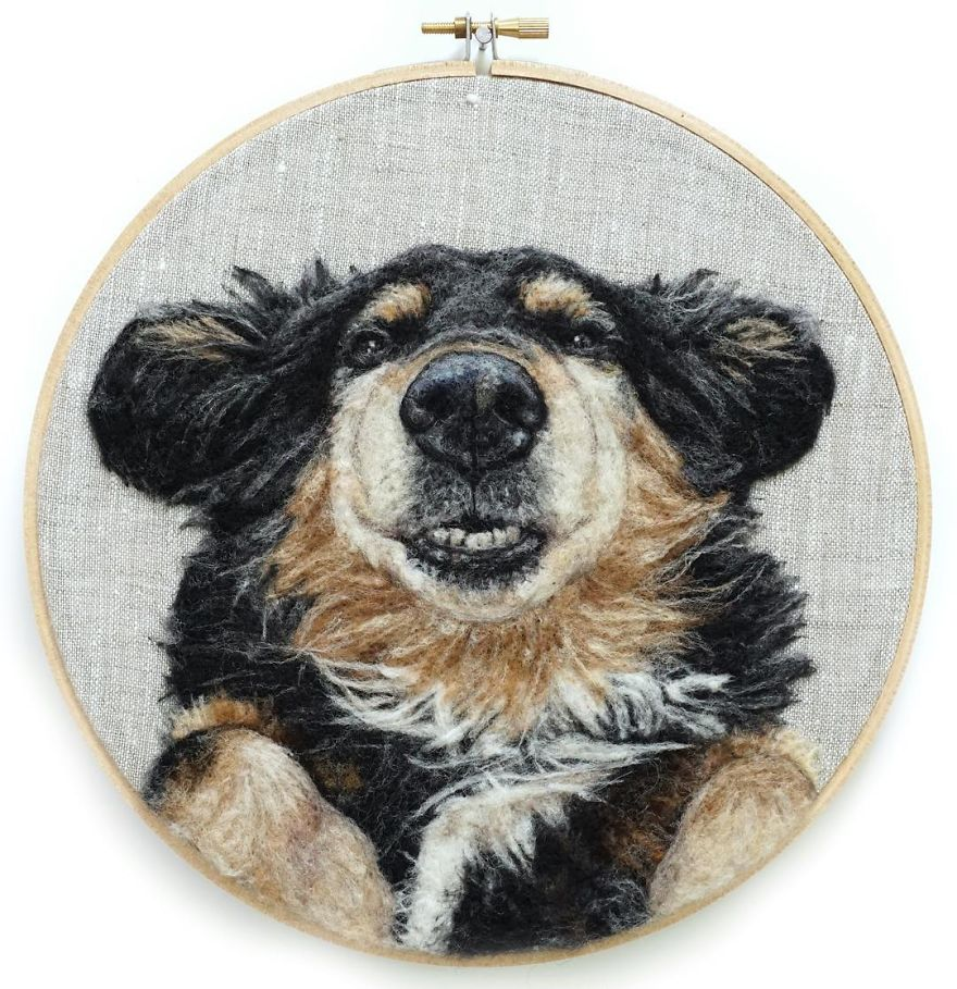 Artist Draws Realistic Portraits Using Embroidery Technique