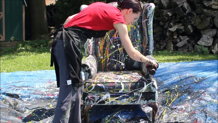 I Threw Buckets Of Paint At An Old Chair…here's What Happened.