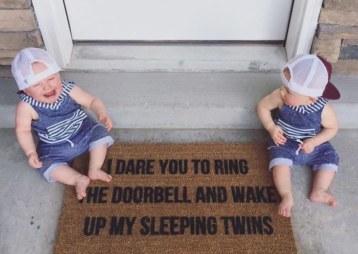 I Mean, Come On! So Cute! This Mat Is A Little Twist On The Original That I Did For A Customer With Twinzies! Link In Profile To Shop All Doormats! 📸