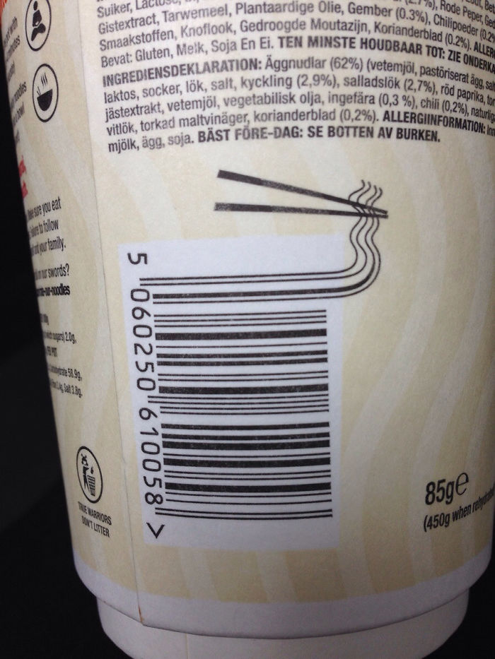 Clever Barcode Design On Noodle Pot