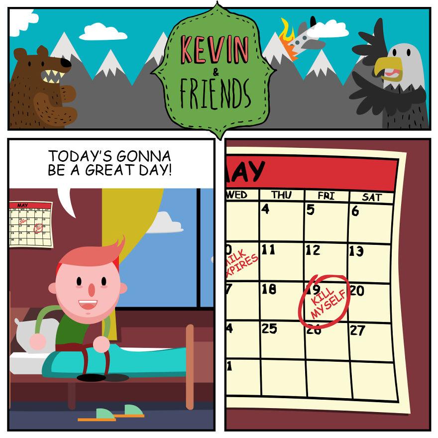 Artist Creates Dark Comics About A Horrible Optimist Kevin (5+ New Pics)