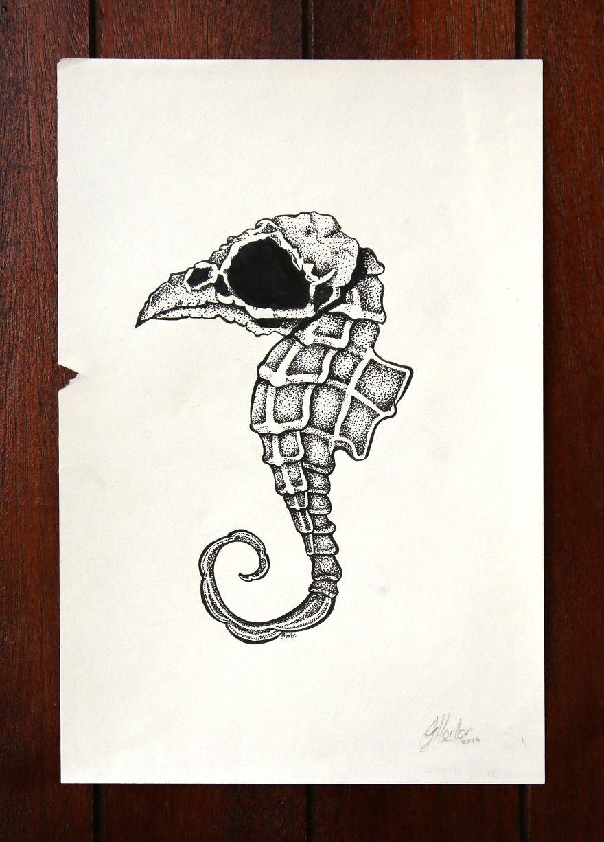 Surreal Seahorse/bird Skull